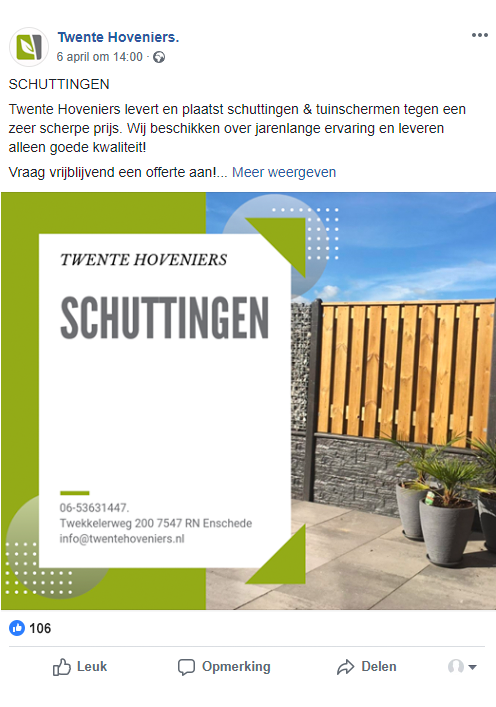 Twente hoveniers, bulldata.nl, social media beheer
